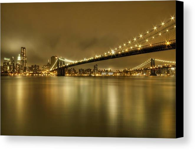 Manhattan Canvas Print featuring the photograph Golden Night by Evelina Kremsdorf