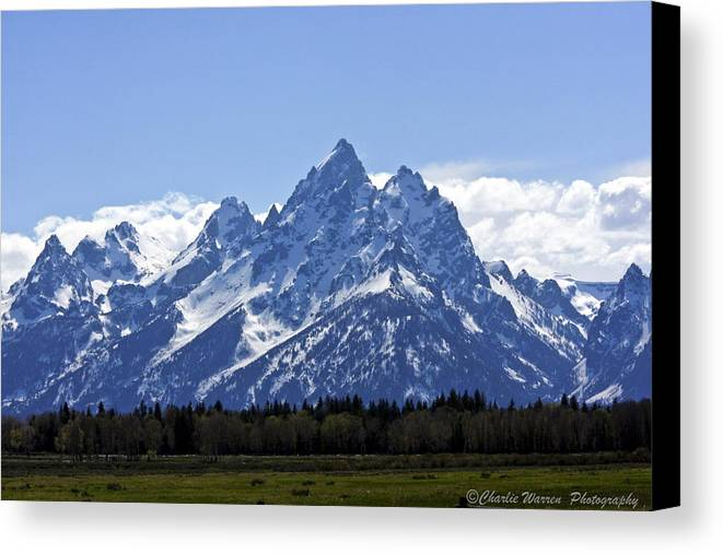 Grand Tetons Canvas Print featuring the photograph Grand Tetons 2 by Charles Warren