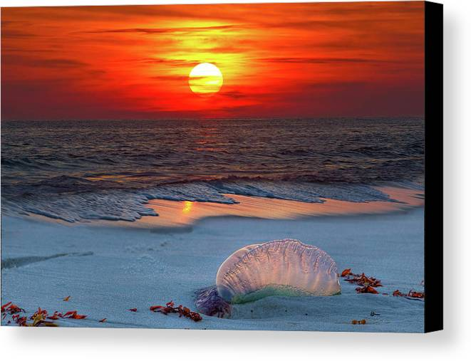 There Is Never A Bad Sunset On This Gulf Of Mexico Beach Canvas Print featuring the photograph Grayton Beach Sunset IIi by Charles Warren