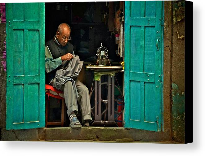 Kathmandu Canvas Print featuring the photograph Handsewn With Care by Valerie Rosen