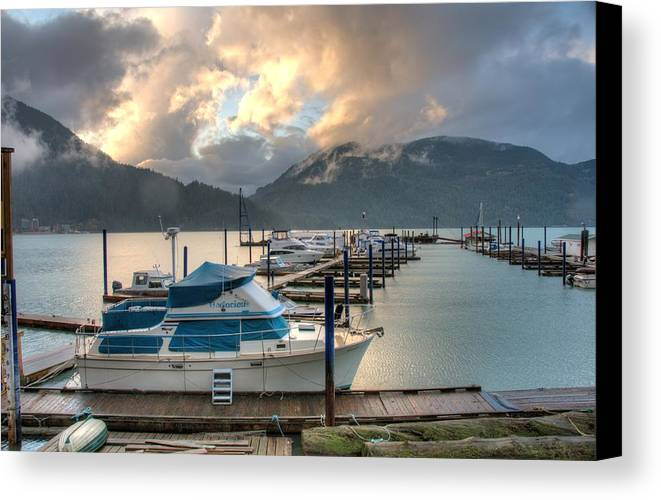 Harrison Canvas Print featuring the photograph Harrison Lake At Dusk by Lawrence Christopher