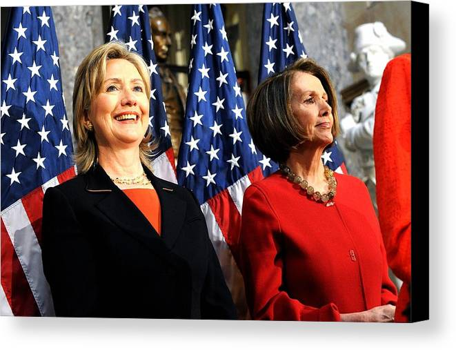 History Canvas Print featuring the photograph Hillary Clinton Stands With Speaker by Everett
