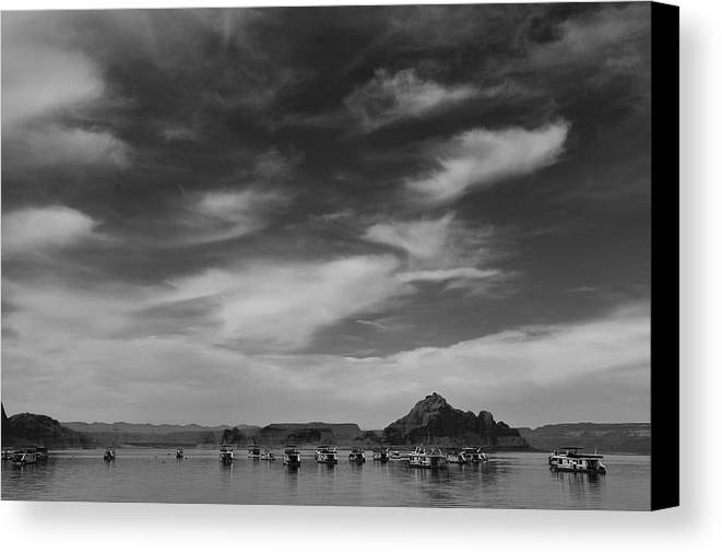 Nature Canvas Print featuring the photograph Houseboats On Lake Powell by Andrew Soundarajan