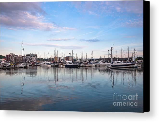 Scenic Canvas Print featuring the photograph Ipswich Marina Dusk by Andrew Michael