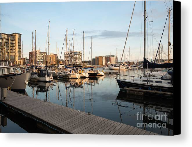 Sunset Canvas Print featuring the photograph Ipswich Marina Sunset by Andrew Michael