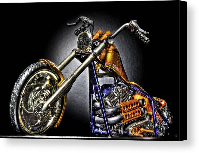 Canvas Print featuring the photograph Jesse James Bike Detroit Mi by Nicholas Grunas