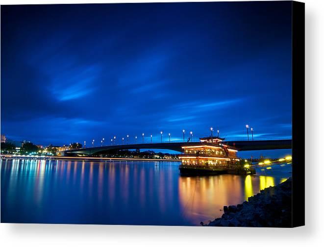 Blue Hour Canvas Print featuring the photograph Kennedy Bridge - Bonn by Andre Distel