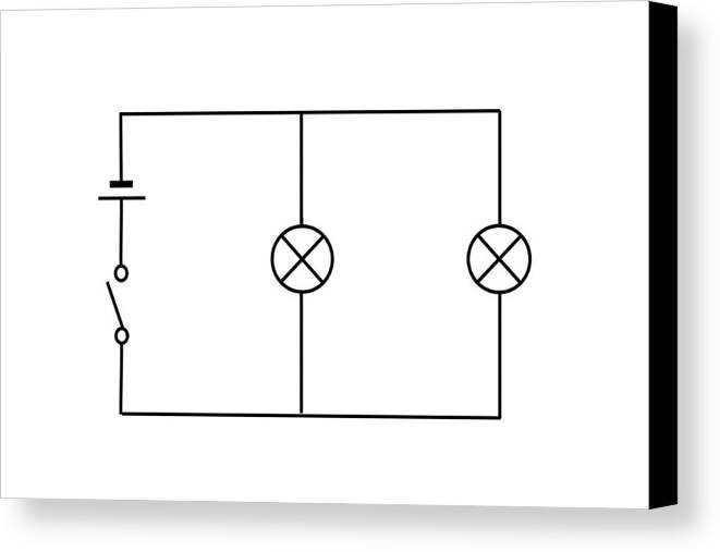 Circuit Diagram Canvas Print featuring the photograph Lamps Connected In Parallel by Sheila Terry