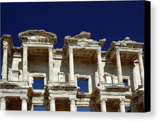 Library Of Celsus Canvas Print featuring the photograph Library Of Celsus In Ephesus by Sally Weigand