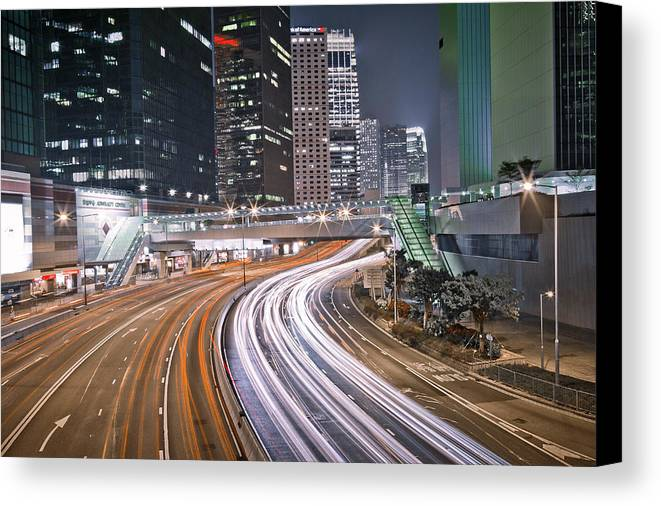 Horizontal Canvas Print featuring the photograph Light Trails On Road by Andi Andreas