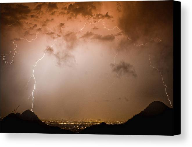 Lightning Canvas Print featuring the photograph Lightning Dome by James BO Insogna