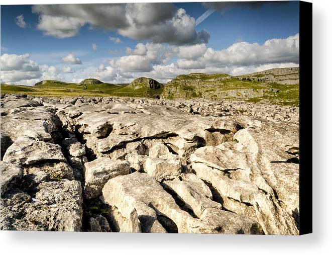 Malham Canvas Print featuring the photograph Limestone Pavements At Malham by Chris Frost