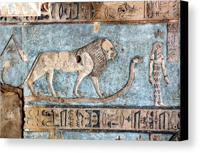 Horizontal Canvas Print featuring the photograph Lion At Dendera, Egypt by Joe & Clair Carnegie / Libyan Soup