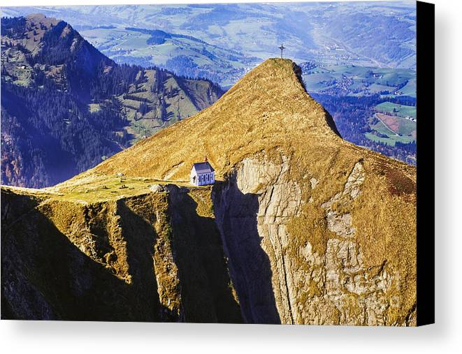 Alps Canvas Print featuring the photograph Little Chapel On The Mountain by George Oze