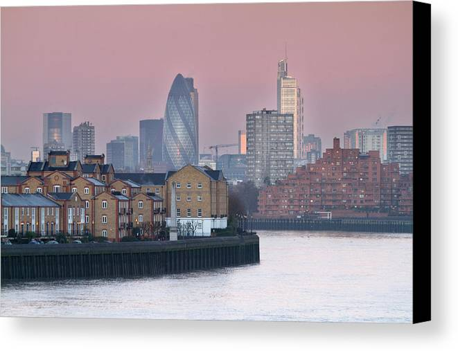 Horizontal Canvas Print featuring the photograph London City View Down Thames by SarahB Photography