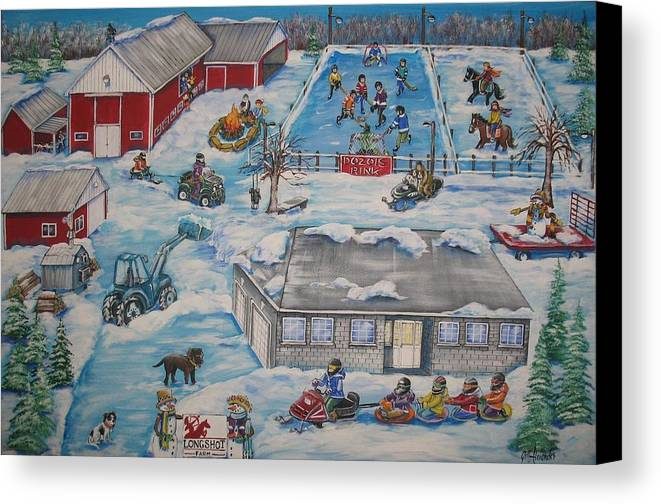 Canvas Print featuring the painting Longshot Farm - Dozois Rink by Jill Alexander