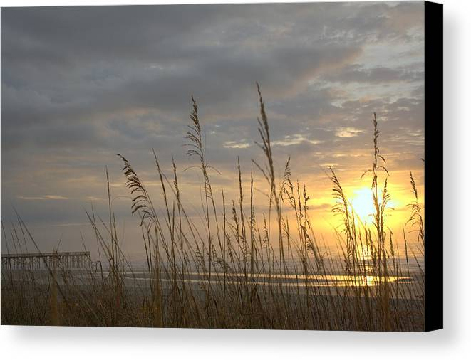 Pier Canvas Print featuring the photograph Looking Back by Lynn Davenport