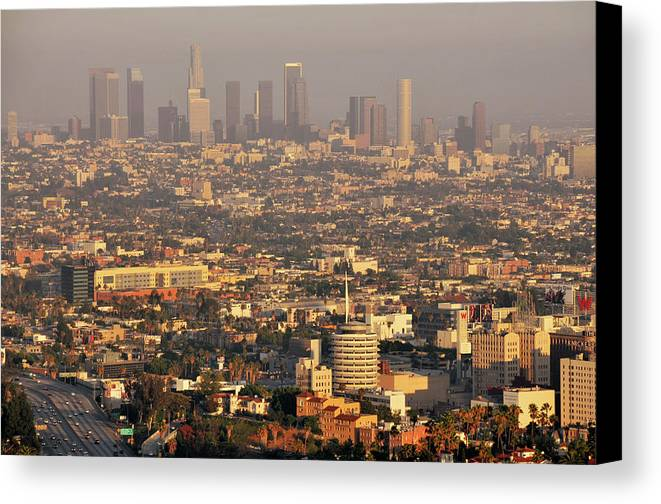 Horizontal Canvas Print featuring the photograph Los Angeles Skyline by Photo by Seattle Dredge