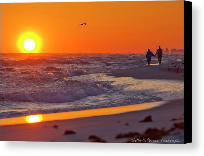 Beach Canvas Print featuring the photograph Lover's Stroll by Charles Warren
