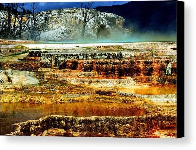 Yellowstone Canvas Print featuring the photograph Mammoth Terrace - Yellowstone by Ellen Heaverlo