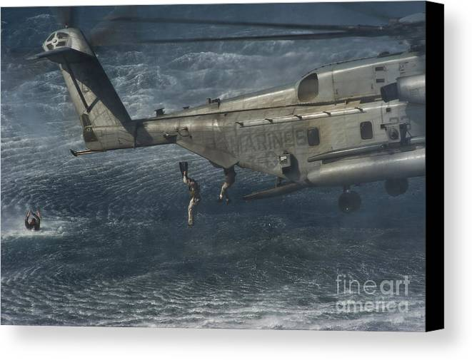 Maritime Canvas Print featuring the photograph Marines Conduct Insertion Exercises by Stocktrek Images