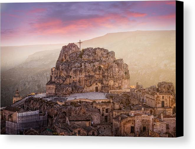 Colour Canvas Print featuring the photograph Matera Sassi by Michael Avory