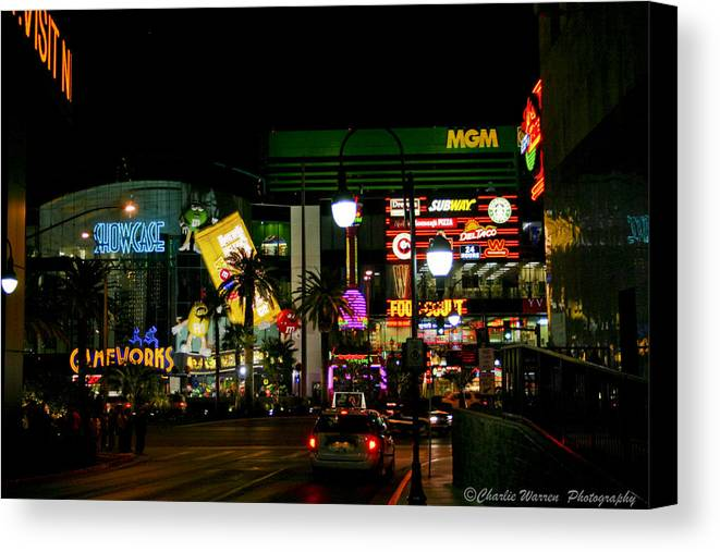 Las Vegas Canvas Print featuring the photograph MGM by Charles Warren