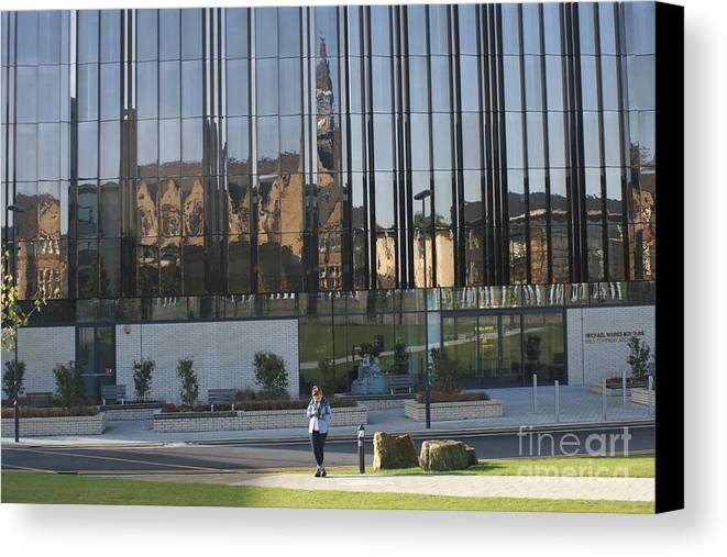 Leeds University Business School Canvas Print featuring the photograph Michael Marks Building by Andy Mercer