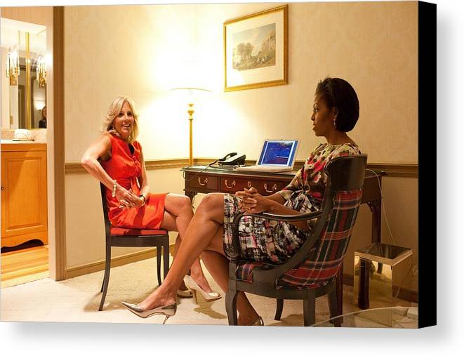 History Canvas Print featuring the photograph Michelle Obama And Dr. Jill Biden Wait by Everett