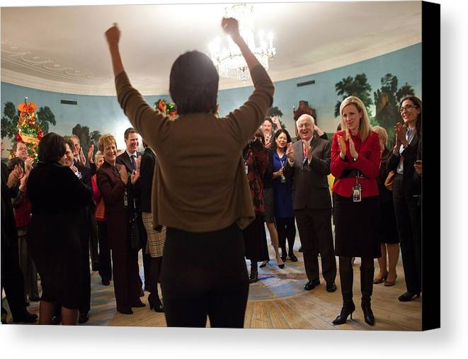 History Canvas Print featuring the photograph Michelle Obama Celebrates With Guests by Everett