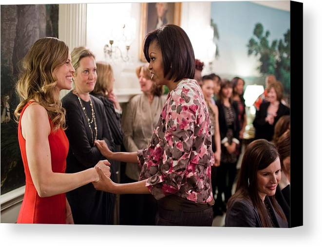 History Canvas Print featuring the photograph Michelle Obama Greets Actress Hilary by Everett
