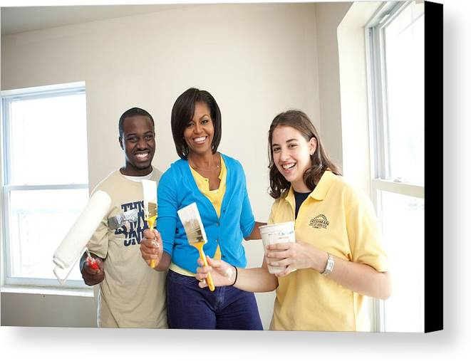 History Canvas Print featuring the photograph Michelle Obama Joins A United We Serve by Everett