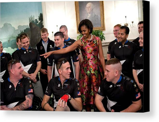 History Canvas Print featuring the photograph Michelle Obama Talks With Participants by Everett