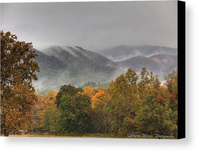 Mountains Canvas Print featuring the photograph Misty Morning Iv by Charles Warren