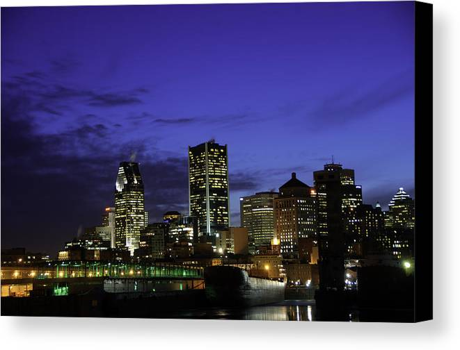 Montreal Canvas Print featuring the photograph Montreal Night by David Leblanc