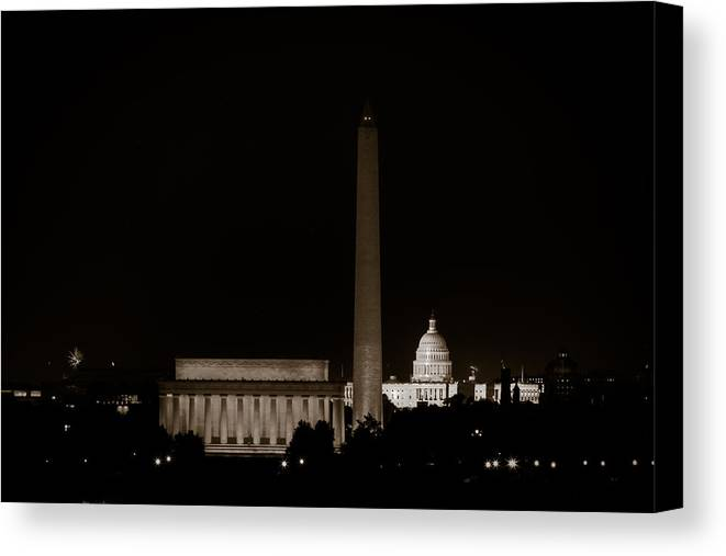 4th Of July Canvas Print featuring the photograph Monuments In Black And White by David Hahn