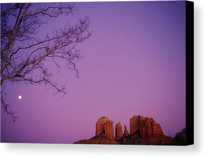 Horizontal Canvas Print featuring the photograph Moonrise Over Oak Creek Canyon by Stockbyte