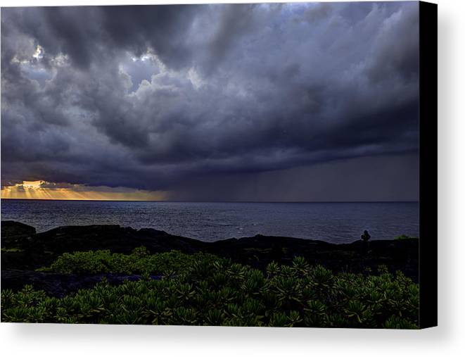 Sunrise Canvas Print featuring the photograph Morning Squall by Mike Herdering