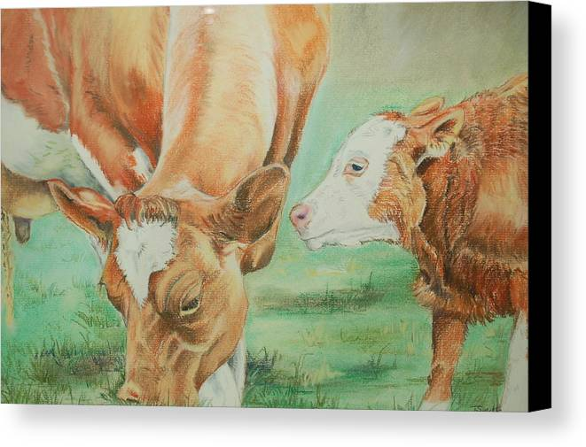 Cow Canvas Print featuring the pastel Mother And Baby by Teresa Smith