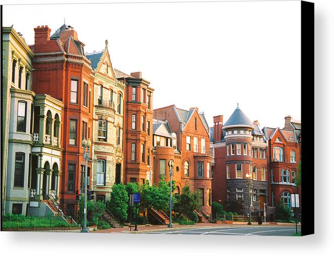 Rowhouse Canvas Print featuring the photograph Neighborhood by Claude Taylor