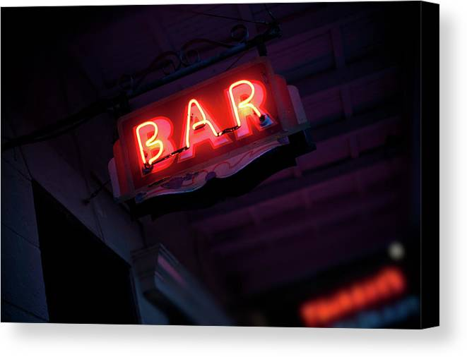 Horizontal Canvas Print featuring the photograph Neon Bar Sign by Hal Bergman