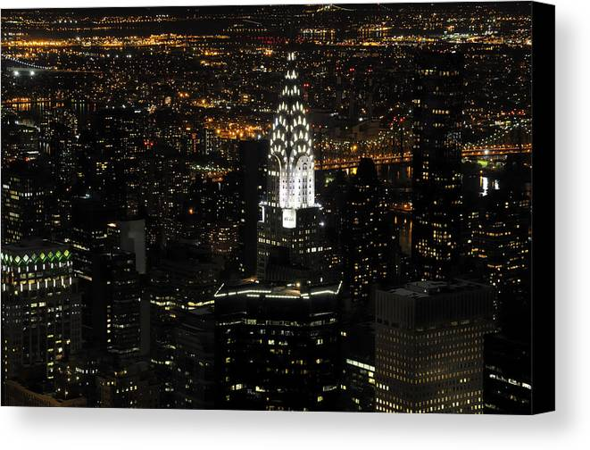 Chrysler Canvas Print featuring the photograph New York City Skyline At Night by Darrell Young