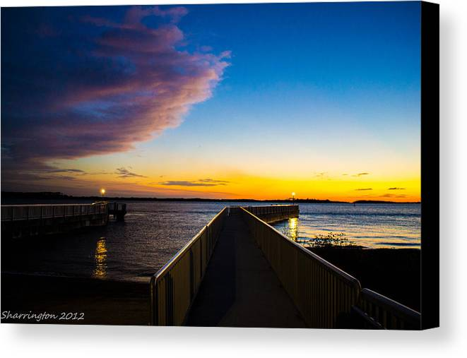 Pier Canvas Print featuring the photograph Night Approaches by Shannon Harrington