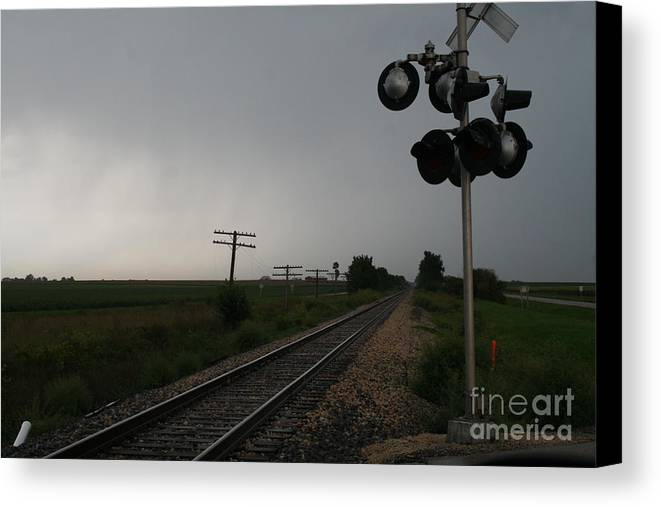 Railroad Canvas Print featuring the photograph Nothing Coming by Roger Look