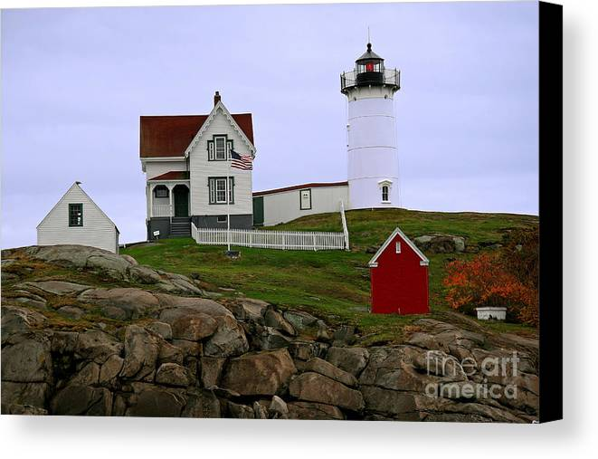 Nubble Light Canvas Print featuring the photograph Nubble Lighthouse by Brenda Giasson