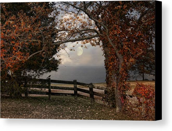 Moon Canvas Print featuring the photograph October Moon by Robin-Lee Vieira