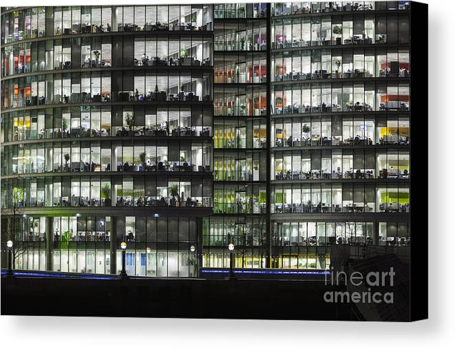 Britain Canvas Print featuring the photograph Office Buildings At More London By Night by Roberto Morgenthaler
