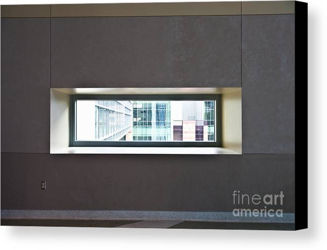 Architectural Detail Canvas Print featuring the photograph Office Buildings Seen Through Window by Dave & Les Jacobs