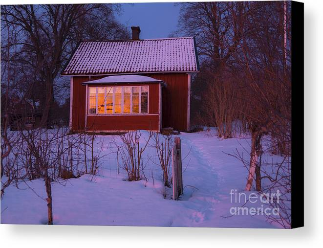 Tracks Canvas Print featuring the photograph Old-fashioned House At Sunset In Winter by Kathleen Smith