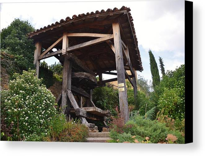 Agriculture Canvas Print featuring the photograph Old Wine Press by Dany Lison